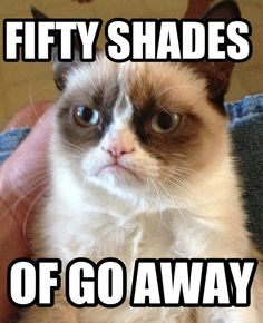 Grumpy cat's Fifty Shades of Go Away is the only acceptable Fifty Shades.  #Grumpy Cat meme #Anti-Fifty Shades of Grey