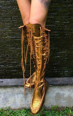 Bronze Metallic Leather Boots