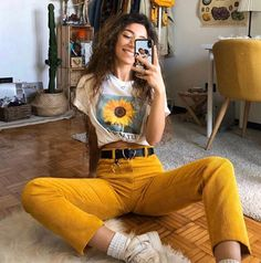 Women's Streetwear Fashion & Clothing – Minga London Indie Outfits, 70s Outfits, Teen Fashion Outfits, Cute Casual Outfits, Summer Outfits, Yellow Outfits, Cute Hippie Outfits, Indie Clothes, T Shirt Outfits