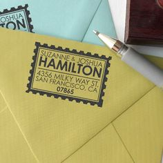 Personalized address rubber stamps. Wouldn't this be lovely as a housewarming gift? Couple with some beautiful notecards (inexpensive at TJ MAXX or Marshalls year round) and your new home owners will LOVE you!