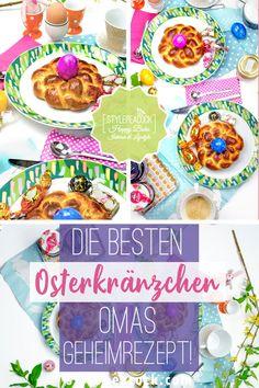 Oster-Traditionen - Omas Rezept für Oster Hefe-Kränzchen, echtes Familienrezept. Hefeteig, der saftig ist & mit meinen Tipps garantiert gelingt!Hefekränzchen - nicht nur für Ostern. Hefeteig super lecker und mit meinen Tipps leicht selbst gemacht. Auch eine hübsche Geschenkidee. #stylepeacock #rezept #Backrezept #yummy #baking #backen #backingporn #foodporn #easter #foodblog #backblog #yeastdough #sweetbun #donut #doughnut #osterrezept #recipe #backen #hefe #teig #kranz #hefezopf #osterhase Fabulous Foods, Lifestyle Blog, Cupcakes, Sweets, Foodblogger, Super, Easter Food, Grandma's Recipes, Brunch Recipes