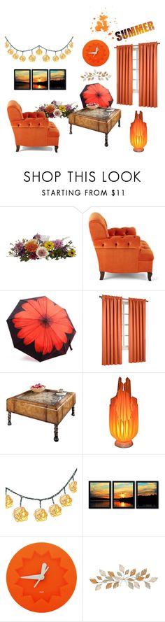 """Orange Decor"" by ioakleaf on Polyvore featuring interior, interiors, interior design, home, home decor, interior decorating, Nearly Natural, Haute House, Sun Zero and Butler Specialty Company"