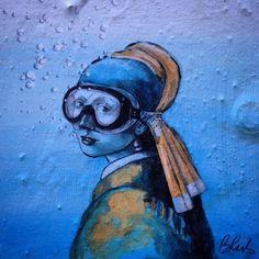Girl pearl diving in Florence street art