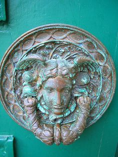 Brass door knocker at The Royal Pavilion, Brighton, East Sussex