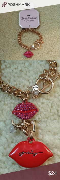 Juicy Couture Rhinestone Lip Kiss Bracelet Authentic.  Super cute!  From a smoke and pet free environment. Juicy Couture Jewelry Bracelets
