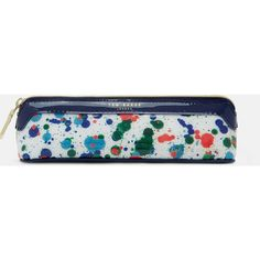 Paint splash pencil case ($29) ❤ liked on Polyvore featuring home, home decor, office accessories, ivory, zipper pencil pouch, colored pencil case, zipper pencil case, zip pencil case and ted baker