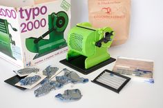 letterpress toy machine printing green in a box C by camelotia, $99.00