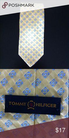 "Tommy Hilfiger Silk Tie.  Yellow w/Lt. Blue Design Like new. 100% silk 3 1/2"" wide. Tommy Hilfiger Accessories Ties"