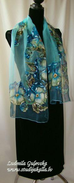 Shawl.Natural silk shawl floral turquoise blue by Studijakalla