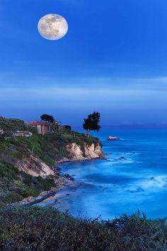 Moonrise Over Corona Del Mar Beach, California