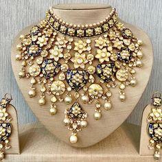 Diamond Earrings Indian, Indian Jewelry Earrings, Indian Wedding Jewelry, Indian Bridal, Diamond Jewellery, Jewelery, Statement Necklace Wedding, Bridal Necklace, Bridal Jewelry