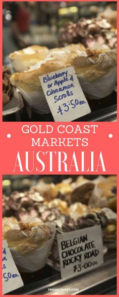 Gold Coast markets. The aroma of coffee and sizzling sausages fills the air as you stroll around the stalls, filling your shopping basket with fresh mangoes, navel oranges and ripe bananas.