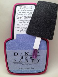Nail Polish Bottle, Spa Party, Girly Invitation. via Etsy.