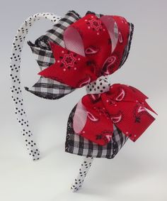 Another great find on #zulily! Red & White Gingham Bandanna Bow Headband by Fairy Bow Mother #zulilyfinds