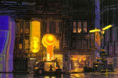 Blade Runner concept art from the closed case file of Rick Deckard by Syd Mead Rick Deckard, Blade Runner Art, Syd Mead, Futuristic Art, Futuristic Vehicles, Cyberpunk Art, Matte Painting, Science Fiction Art, Sci Fi Art