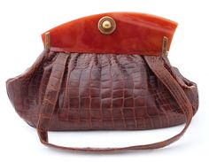 S. Steinman Vintage Alligator & Bakelite Handbag