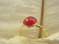 Ring vergoldet pink Quarz von Querbeads Atelier auf DaWanda.com