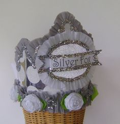 Birthday crown/hat Adult Birthday  SILVER FOX or by glamhatter, $24.00