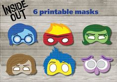 Instand DL - Inside out Printable masks-  6 masks photo booth props (NON Personalized)