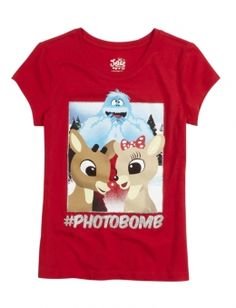 Rudolph Photo Bomb Tee: graphic tee with glitter embellishment, crew neck, short sleeve, casual fit #Rudolph #ShineBright