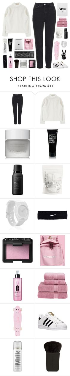 """""""' we'll be the lucky ones. '"""" by m-balli ❤ liked on Polyvore featuring Topshop, Omorovicza, Clark's Botanicals, Living Proof, Nixon, NIKE, NARS Cosmetics, Clinique, Christy and adidas"""