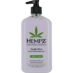 Hempz Vanilla Plum Herbal Body Moisturizer is the same great hydration of Hempz's Original Body Moisturizer, now in a light and fruity scent! This all-day herbal body lotion provides nourishment and d