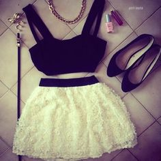 black top, white skirt, flats and accessories