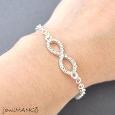 Silver infinity Bracelet everyday infinity jewelry by JewelMango