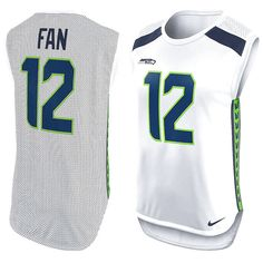 12th Fan Seattle Seahawks Nike Women's Player Name & Number Sleeveless Top - White - $54.99