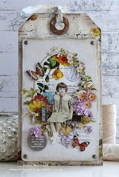 She Dreams Of Faraway Places. Created by Emma Williams for Tim Holtz Creativation 2018 Art Journal Pages, Art Journals, Junk Journal, Card Tags, Gift Tags, Timmy Time, Art Postal, Handmade Tags, Collage