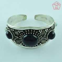 Attractive Design 925 Sterling Silver Black Onyx & Turquoise Stone Bangle…