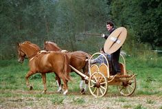 War chariot - reproduction of an iron age war chariot, horses were a rare and valuable commodity as were chariots. Of open design it cold hold two men, one to steer the horse, the other to launch projectiles at the enemy in a hit and run tactic.