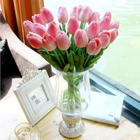 24pcs/lot Tulip PU Bouquet Decorative Flowers Real Touch Artificial Flower Wedding Party Mini Home Decor Beauty Your Home