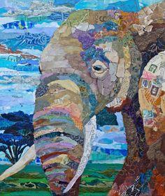 Paper collage elephant by Elizabeth St. Paper Mosaic, Mosaic Art, Paper Collage Art, Magazine Collage, Elephant Art, Elephant Quilt, Ecole Art, Animal Quilts, Art Plastique
