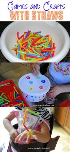 3 Ideas for Straw Games and Crafts - i must keep this frugal item on hand for kids activities! Straw Activities, Motor Skills Activities, Fun Activities For Kids, Classroom Activities, Preschool Ideas, Classroom Ideas, Craft Ideas, Toddler Play, Toddler Crafts
