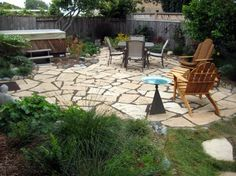 irregular natural stone permeable patio with pea gravel joints ... - Permeable Patio Ideas