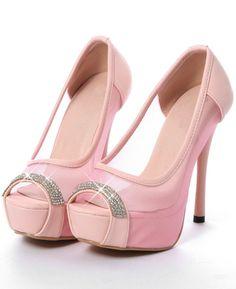 Gorgeous Pink Peep toe high heels