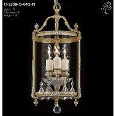 ABC Lighting Lantern 3 Light Foyer Pendant Crystal: Precision Crystal Oval Clear, Finish: Silver