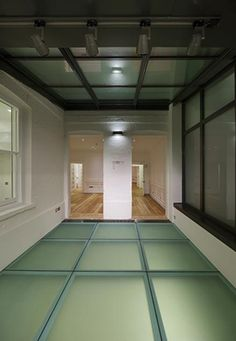 Sandblasted Glass to private home in Lincolns Inn. Using the sandblasted glass as an anti-slip surface to a walk on glass floor and privacy between the spaces Glass Floor, Tile Floor, Glass Tiles, Walking On Glass, Glass Bridge, Interior Architecture, Interior Design, Sandblasted Glass, Roof Light