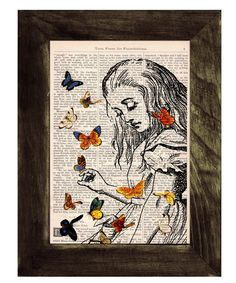 Book print Alice in Wonderland Playing with butterflies print on Vintage Dictionary Book art. $7.99, via Etsy.