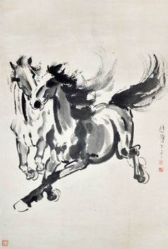 """Galloping Horses"", by Xu Beihong, Chinese artist"