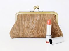 NEW  Wood Grain Cosmetic Bag Clutch Style XSmall by coryrenee
