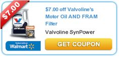 $7.00 Off Valvoline's Motor Oil And Fram Filter Coupon~Plus 2 More Valvoline Coupons
