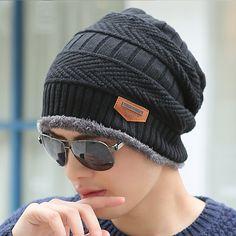 Boys Men Winter Hat Knit Scarf Cap Winter Hats for Men Caps Warm Fur Skullies Beanie Bonnet Hat Man 2017 Mens Winter Hats  Price: 4.98 USD