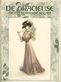 [De Gracieuse] Wandeltoilet van oud-rose voilestof (July 1908)
