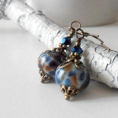 Handmade Beaded Jewelry Lampwork Earrings Vintage Style Dangles Navy Blue Brown Antiqued Bronze Beaded Earrings Under 25. $17.00, via Etsy.