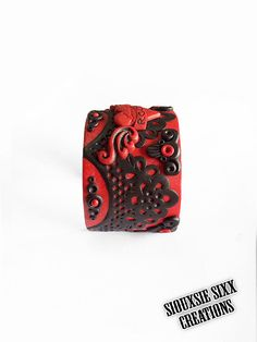 Black and Glitter Red I Love Rock Winged Heart Cuff Bracelet Made Of Polymer Clay by SiouxsieSixxCreation