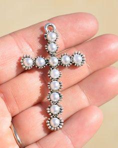 Large Tibetan Silver Cross  Pendants with Faux by LorettasBeads, $2.50