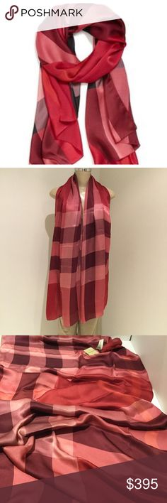 BURBERRY CORAL SILK SCARF BRAND NEW OVERSIZED CHECKS PATTERN CORAL COLOR SILK BURBERRY SCARF. 100% SILK. MADE IN ITALY.                                             SMOKE / PET FREE ENVIRONMENT.                     NO TRADE Burberry Accessories Scarves & Wraps