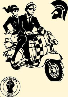 Mod/Ska Couple on Scooter Cross Stitch Chart Mod Scooter, Scooter Girl, Scooter Garage, Ska Music, Lambretta, Arte Punk, Ska Punk, Rock N Roll, Pochette Album